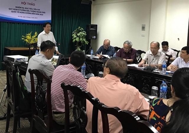 Các chuyên gia đóng góp ý kiến tại hội thảo về Quy hoạch tượng đài Hùng Vương.