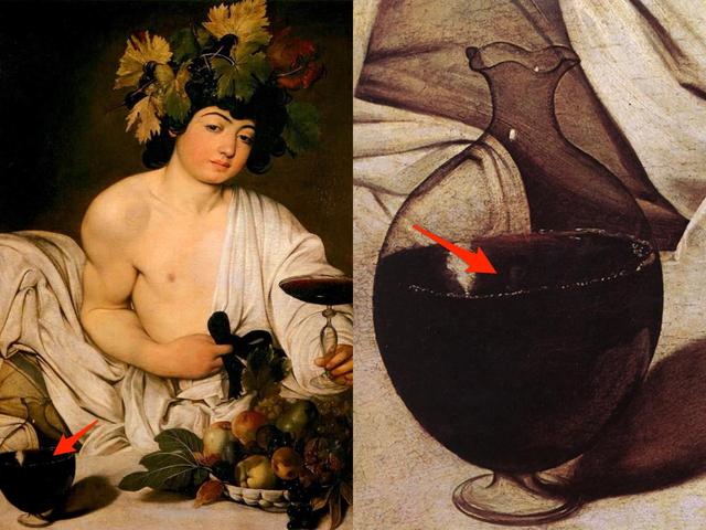 """Danh họa người Ý Caravaggio đưa một bức chân dung """"nhỏ xíu"""" của chính mình vào trong bức họa """"Bacchus""""."""