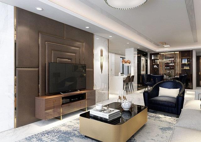 """Những căn hộ mang hơi hướng """"nguyên thủ quốc gia"""" đều được thiết kế với những chi tiết dát vàng tinh xảo."""