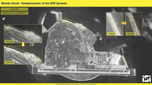 Ảnh chụp vệ tinh của ISI cho thấy Trung Quốc lại ngang nhiên tái triển khai tên lửa ở đảo Phú Lâm thuộc quần đảo Hoàng Sa của Việt Nam. (Ảnh: ISI)