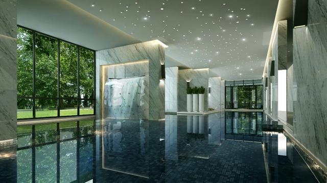 Bể bơi nước nóng 4 mùa theo phong cách nghỉ dưỡng.