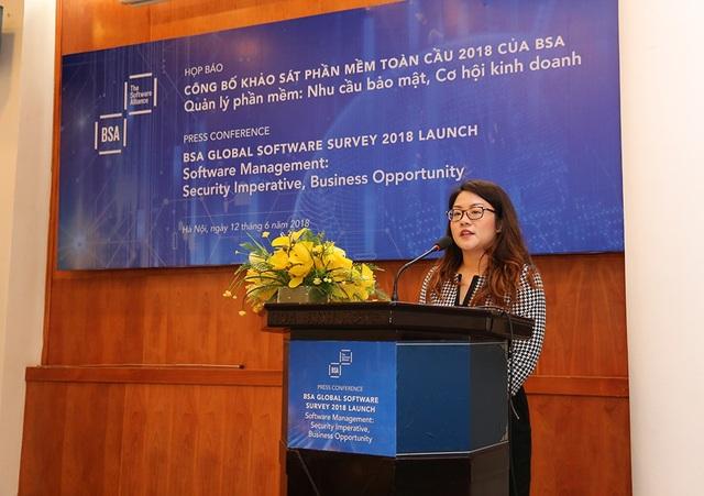Bà Sheryl Lee, Cố vấn khu vực Châu Á- Thái Bình Dương, Liên mình phần mềm BSA thông tin tại buổi công bố.