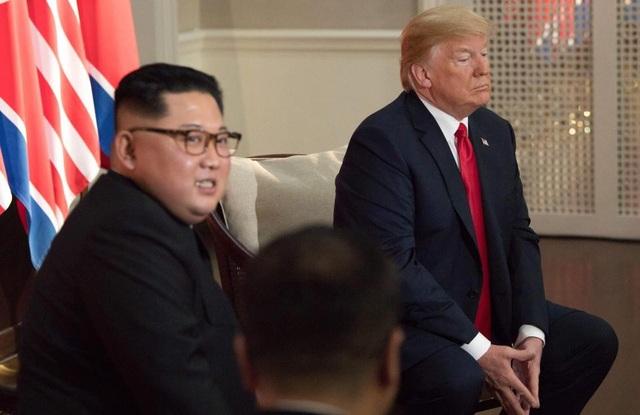 Cách đặt tay theo hình tháp ngược của ông Trump khi ngồi cạnh ông Kim Jong-un (Ảnh: EPA)