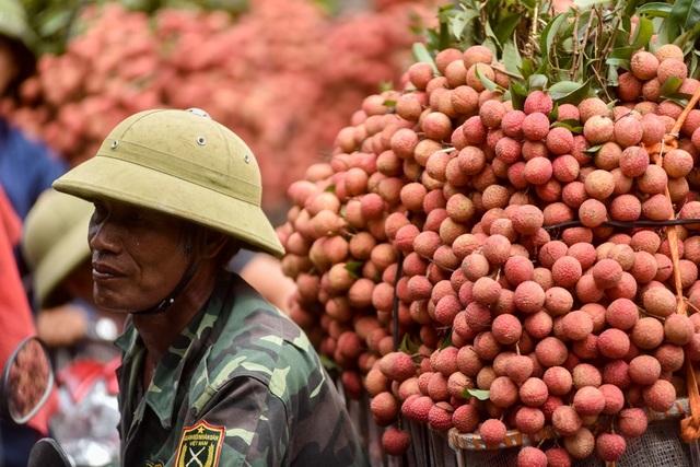 Một nông dân mệt mỏi chờ tới lượt cân vải.
