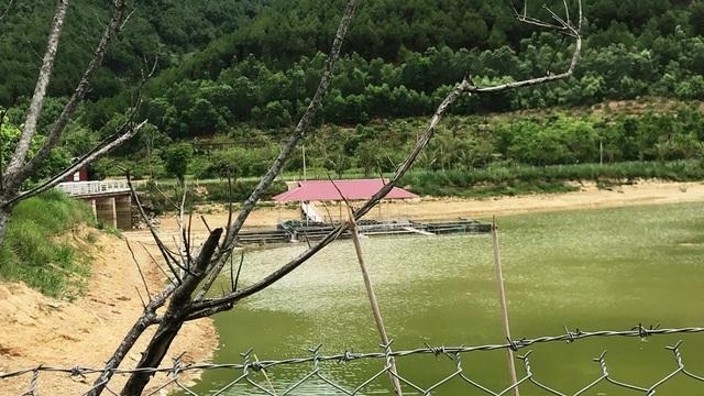 Nước hồ Khe Lau đã cạn và có nhiều loại cá chết do ô nhiễm.