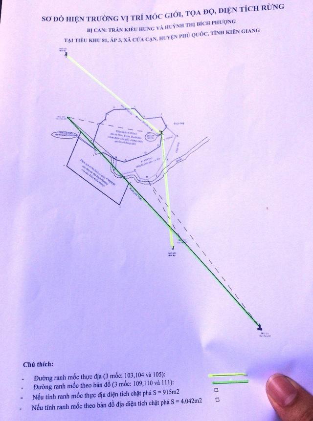 Sơ đồ do cán bộ kỹ thuật thuộc Sở NN&PTNT tỉnh Kiên Giang trình bày tại phiên tòa. Nếu theo cột mốc 103,104 và 105 có tại thực địa thì diện tích bị chặt phá chỉ 915m2 (phần dạ quang); còn theo tọa độ cột mốc 109,110 và 111 mà cơ quan điều tra làm cơ sở truy tố vợ chồng bị cáo Trần Kiều Hưng lên đến 4.042m2