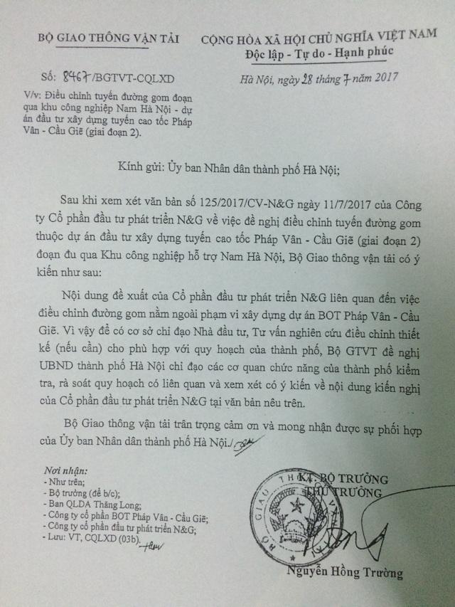Văn bản của ông Nguyễn Hồng Trường- Thứ trưởng Bộ GTVT gửi UBND TP Hà Nội.