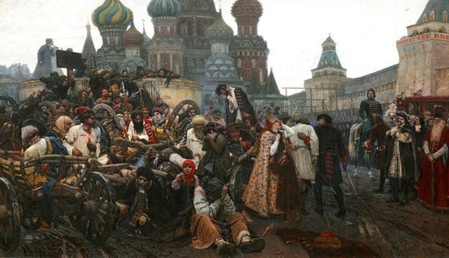 """Bức """"Trấn áp cuộc nổi dậy của lực lượng cấm vệ Streltsy"""" (1881) - Vasily Surikov"""