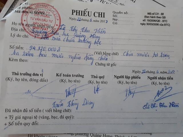 Phiếu chi gần 95 triệu đã được bà Hiền nhận nhưng không xây dựng phòng học.