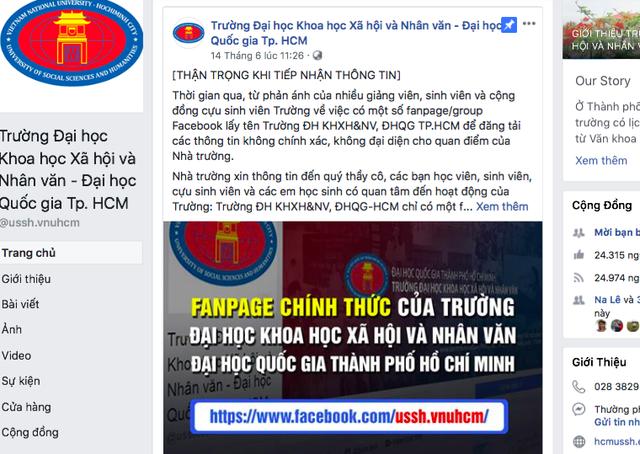 Trường ĐH Khoa học xã hội và nhân văn (ĐHQG TPHCM) lại phải tiếp tục đưa ra cảnh báo về tình trạng fanpage mạo danh