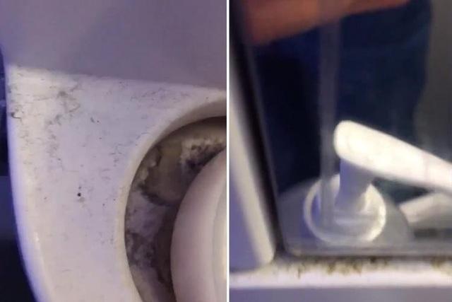 Các vết bẩn và vết ố bám trên nhà vệ sinh ở máy bay