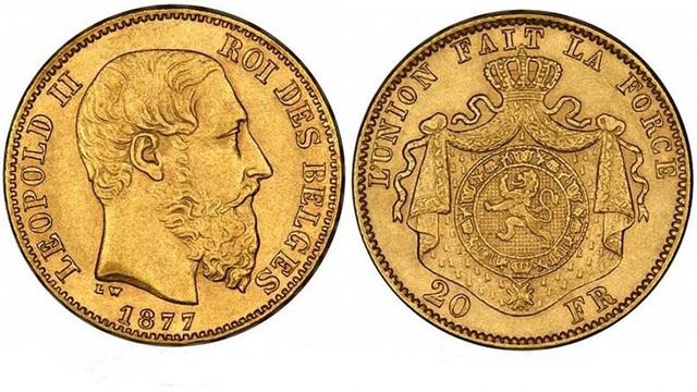 Những đồng tiền vàng mà nhóm công nhân tìm thấy trong căn nhà hoang có in chân dung vua Leopold II. (Nguồn: FN)