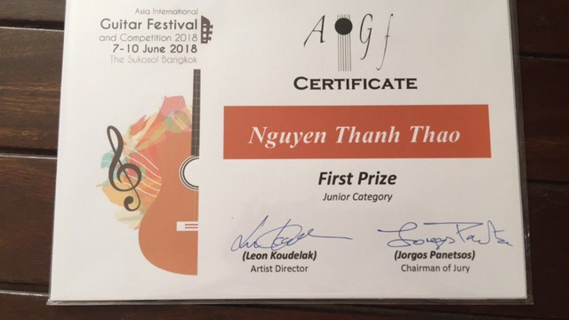 Việc Nguyễn Thanh Thảo đạt giải Nhất cuộc thi Asian International Guitar Festival & Competition 2018 mang lại niềm vui, niềm vinh dự cho bộ môn guitar khoa AGO (Học viện Âm nhạc Quốc gia Việt Nam).