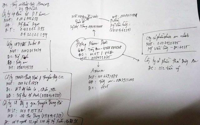 Bản đồ phân tách mối quan hệ chằng chịt của Công ty Đông Nam Dược với các thành viên khác trong hệ thốn