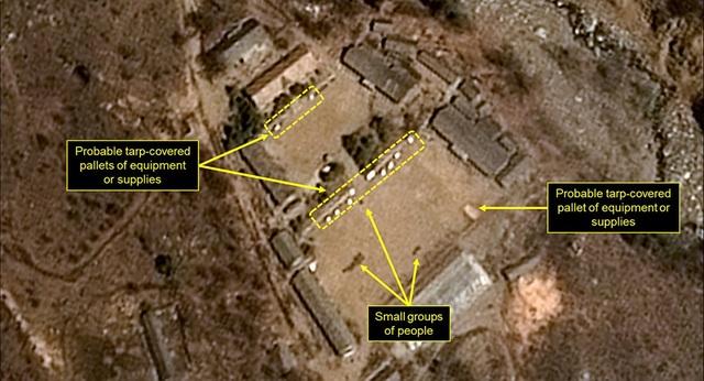 Bãi thử hạt nhân Punggye-ri của Triều Tiên qua ảnh chụp vệ tinh. Triều Tiên đã phá hủy bãi thử này hồi cuối tháng 5 nhằm mở đường cho hội nghị thượng đỉnh với Mỹ. (Ảnh: AP)