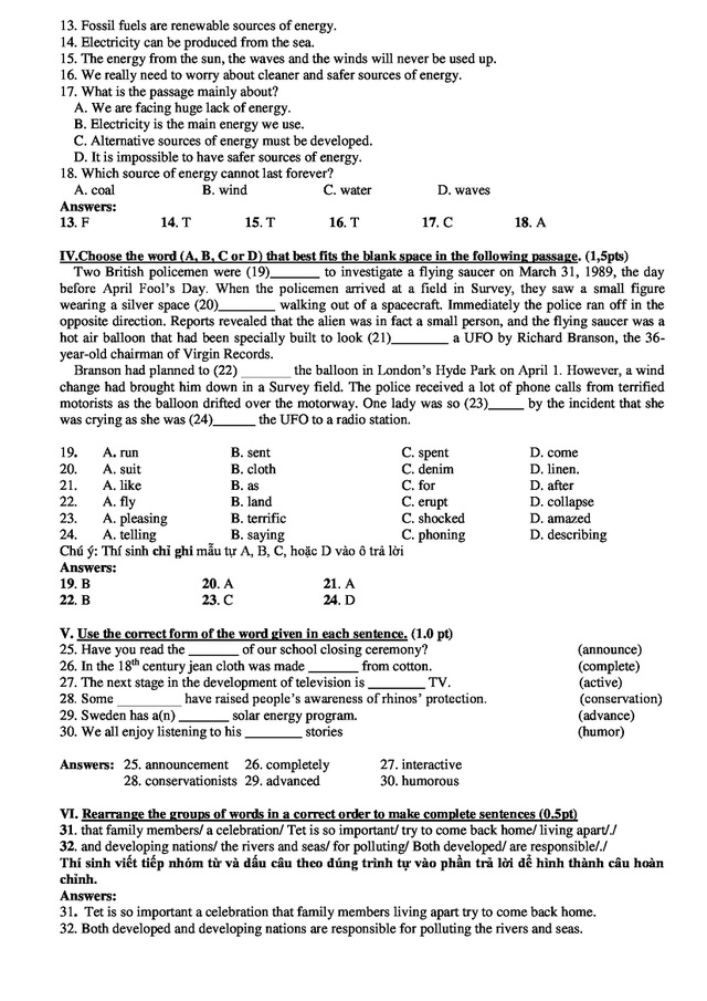TP.HCM: Gợi ý giải đề vào lớp 10 môn tiếng Anh - 3