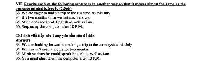 TP.HCM: Gợi ý giải đề vào lớp 10 môn tiếng Anh - 4