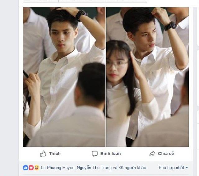 """Trên một trang fanpage dành cho các bạn trẻ yêu thích """"trai xinh gái đẹp"""", hình ảnh của Lê Anh Tú (sinh năm 2000) được đăng tải bất ngờ nhận được sự quan tâm với hơn 8.000 lượt cảm xúc."""