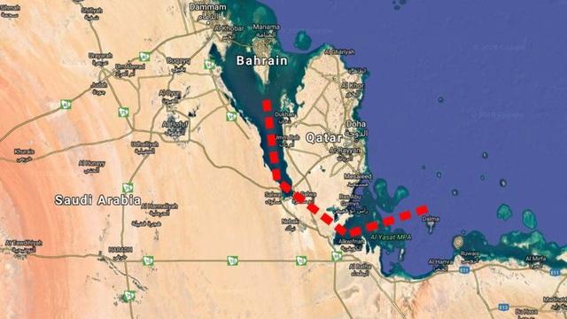Bản đồ cho thấy vị trí Ả-rập Xê-út tính đào kênh nhằm biến Qatar trở thành một quốc đảo. (Ảnh: Google Earth/Ruland Kolen)