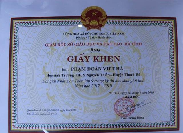 Giấy khen giải Nhất môn Toán lớp 9 trong kỳ thi học sinh giỏi cấp tỉnh vừa qua của Việt Hà.