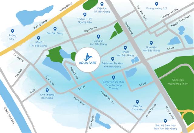 Aqua Park tọa lạc tại vị trí đất vàng của Bắc Giang