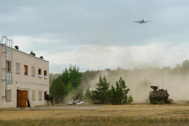 Máy bay A-10 Thunderbolt của Không quân Mỹ yểm trợ tác chiến cự ly gần cho các binh sĩ Lithuania tại thao trường Pabrade ở Lithuania.