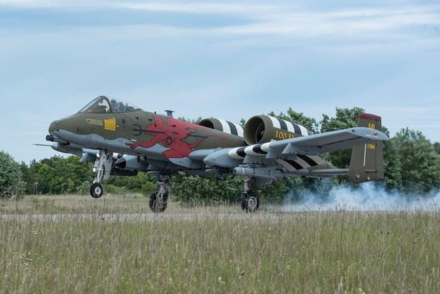 Máy bay A-10 Thunderbolt II được sơn lại theo phong cách đặc biệt luyện tập hạ cánh ở Haapsalu, Estonia.