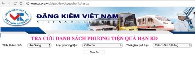 Địa chỉ tra cứu xe quá hạn kiểm định trên trang web của Cục Đăng kiểm Việt Nam.