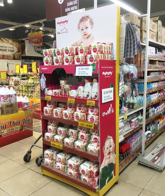 Gian trưng bày hệ sản phẩm Mamamy tại hệ thống siêu thị Fivimart và Tmart toàn quốc