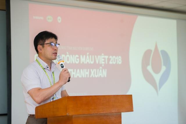 Ông Bae IL Hwan - Phó Tổng giám đốc Công ty TNHH Samsung Việt Nam Thái Nguyên phát biểu tại Lễ Phát động Chương trình Chung dòng máu Việt 2018