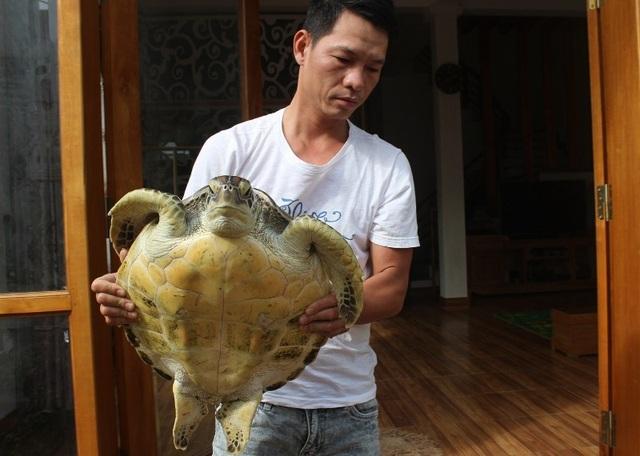 Anh Nguyễn Hữu Hải mua được cá thể đồi mồi với giá 5 triệu đồng
