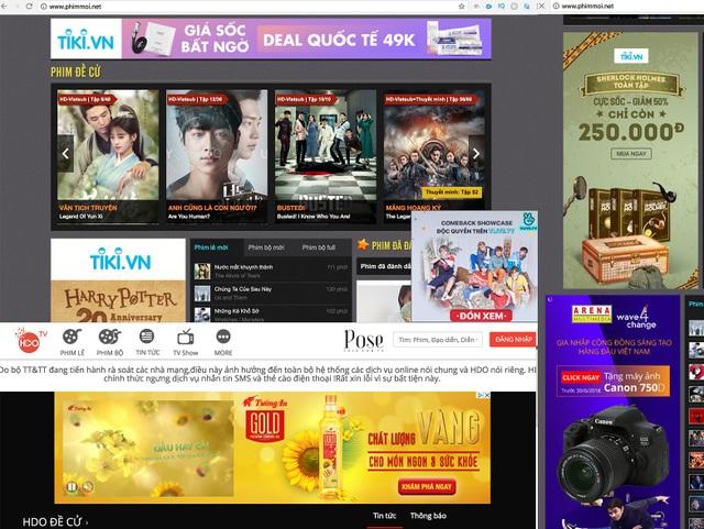Quảng cáo lại tràn ngập trang web phim lậu