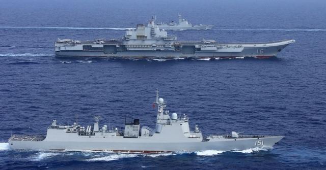 Tàu Trung Quốc diễn tập ở Tây Thái Bình Dương. (Ảnh: CNBC)
