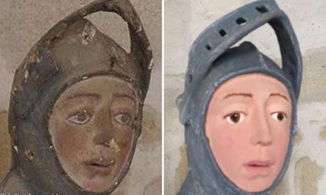 Bức tượng cổ khắc họa Thánh George sau khi được phục chế lại đã khiến nhiều người sửng sốt và trở thành chủ đề tranh cãi trên mặt báo Tây Ban Nha.