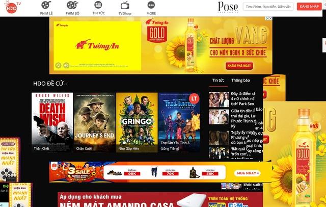 Quảng cáo ngập tràn các trang web phim lậu