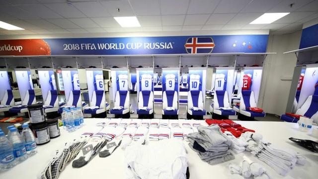 Trong phòng thay đồ của các cầu thủ Iceland