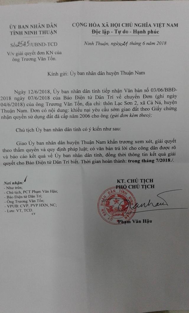 Văn bản phản hồi của UBND tỉnh Ninh Thuận