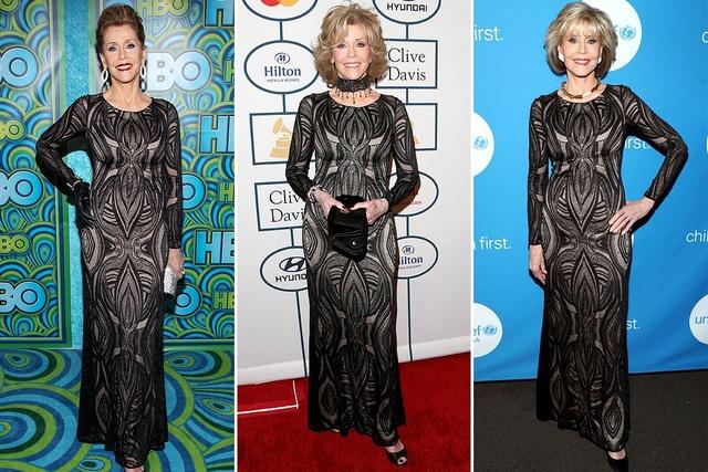 Từ năm 2013 tới nay, Jane Fonda diện bộ váy David Meister này tới 3 lần