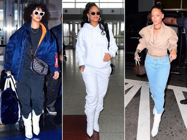 Đôi bốt trắng Jimmy Choo rất được lòng Rihanna