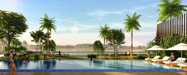 Hồ bơi trải dài bên sông tạo cảm giác thư thả cho cộng đồng sống tại Jamona Sky Villas