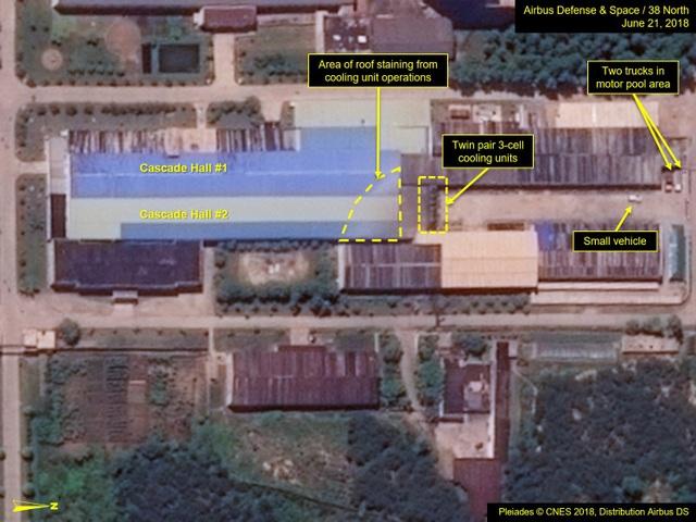 Hình ảnh vệ tinh cho thấy cơ sở hạt nhân Yongbyon của Triều Tiên vẫn đang hoạt động bình thường bất chấp cam kết phi hạt nhân hóa của Bình Nhưỡng (Ảnh: CNES)