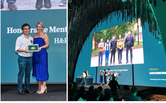 Đại diện H&P Architects nhận giải thưởng INDE. 2018 tại Singapore