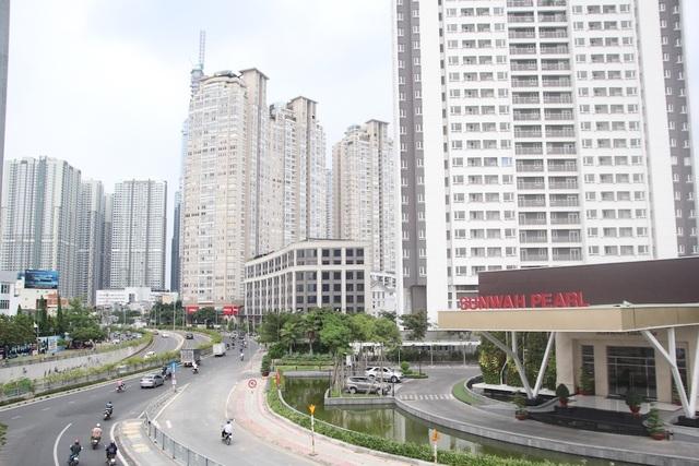 Phạm vi chống ngập cho đường Nguyễn Hữu Cảnh nhìn từ cầu Thủ Thiêm