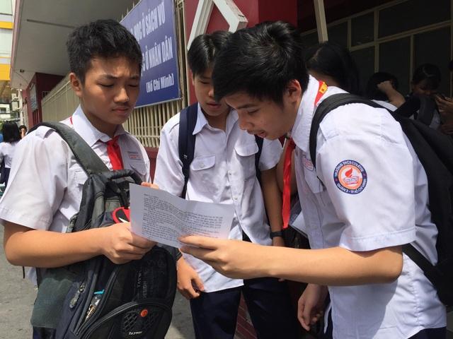 Học sinh TPHCM trong kỳ thi tuyển sinh vào lớp 10 năm học 2018-2019