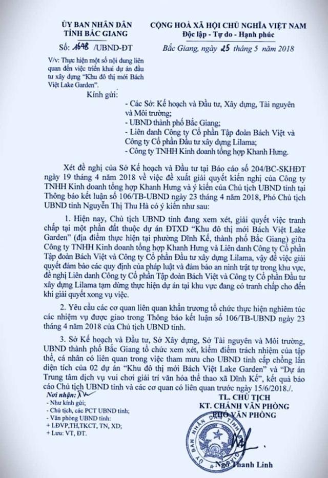 Chủ tịch UBND tỉnh Bắc Giang đã yêu cầu tạm dừng tạm dừng thực hiện dự án tại khu vực đang có tranh chấp cho đến khi giải quyết xong vụ việc.