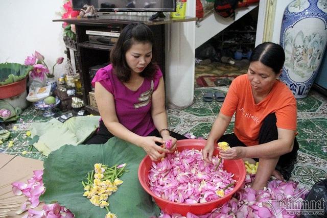 Trà sẽ được ướp với những cánh hoa sen nhỏ trong 2 ngày, sau đó sấy khô rồi mới được ướp với gạo sen