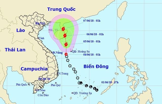 Vị trí và hướng di chuyển của áp thấp nhiệt đới. (Ảnh: NHCMF).