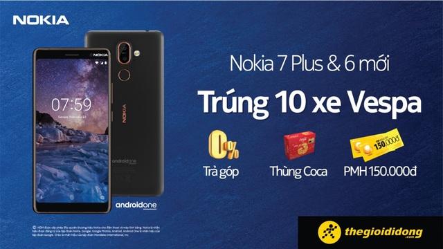 Khi mua Nokia 6 mới tại Thế Giới Di Động khách hàng còn được tặng 1 thùng Coca Cola, phiếu mua hàng 150.000đ và ưu đãi trả góp 0%