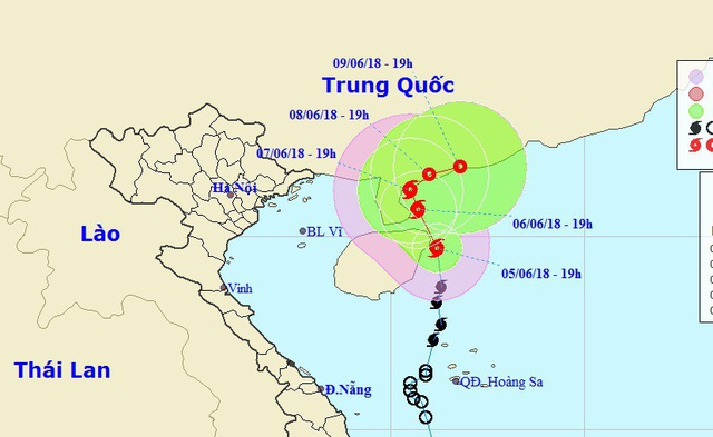 Vị trí và hướng di chuyển của bão số 2. (Ảnh: NCHMF).