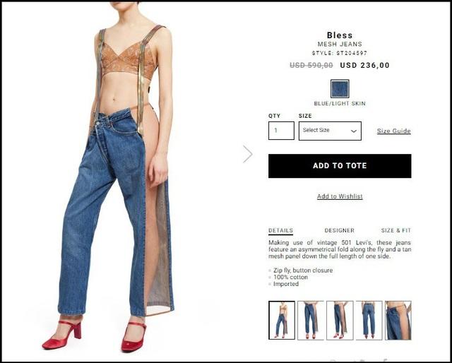 """Mẫu quần jeans được một thương hiệu thời trang của Mỹ đặt tên là """"Mesh Jeans"""" (Jeans lưới)."""